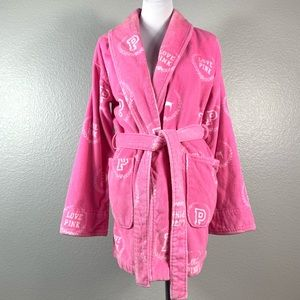 Victoria's Secret Pink Spell Out Plush Short Robe